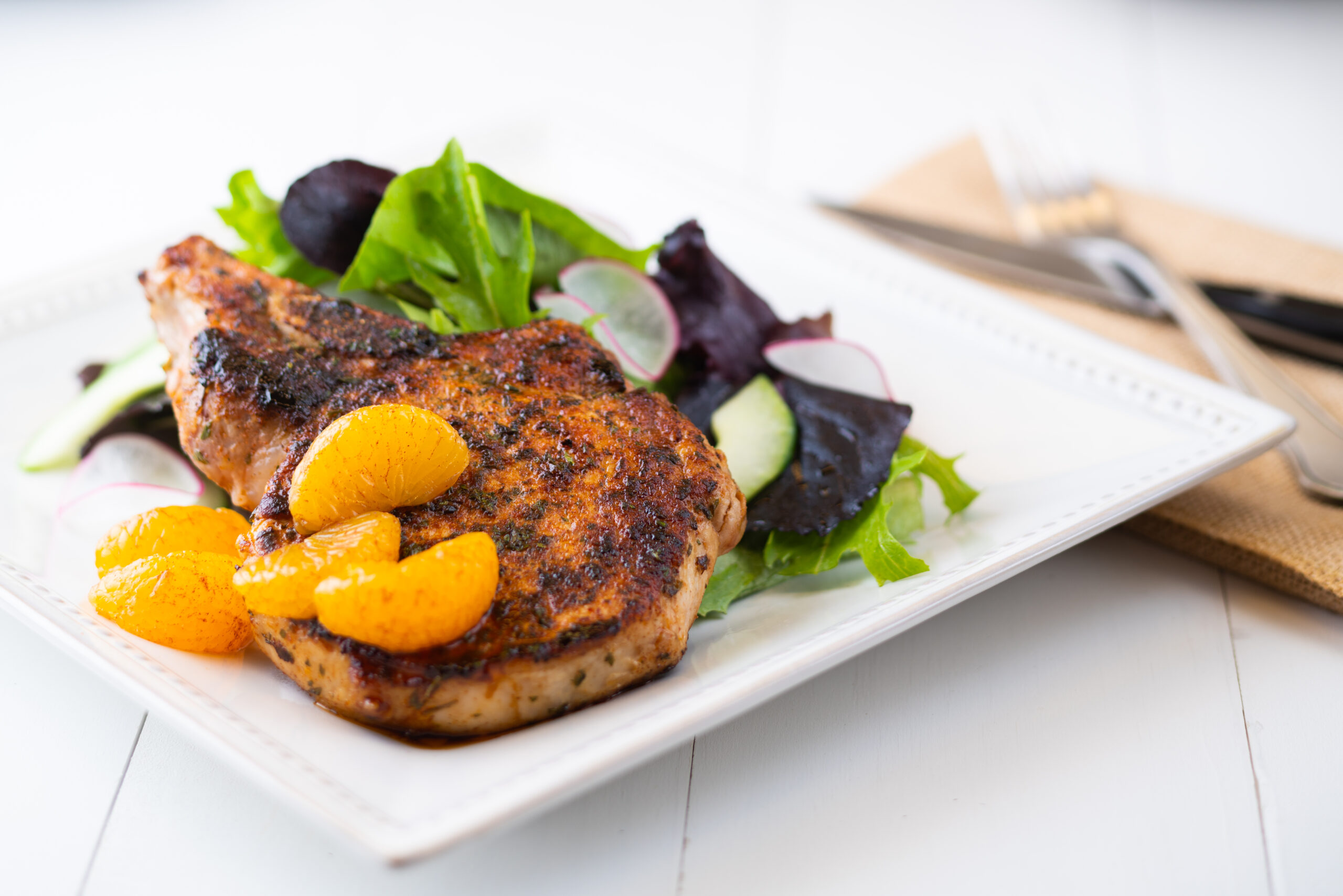 Six Spice Pork Chops with Cinnamon Oranges – Salt-Free Sugar-Free Magic Seasoning Blends™