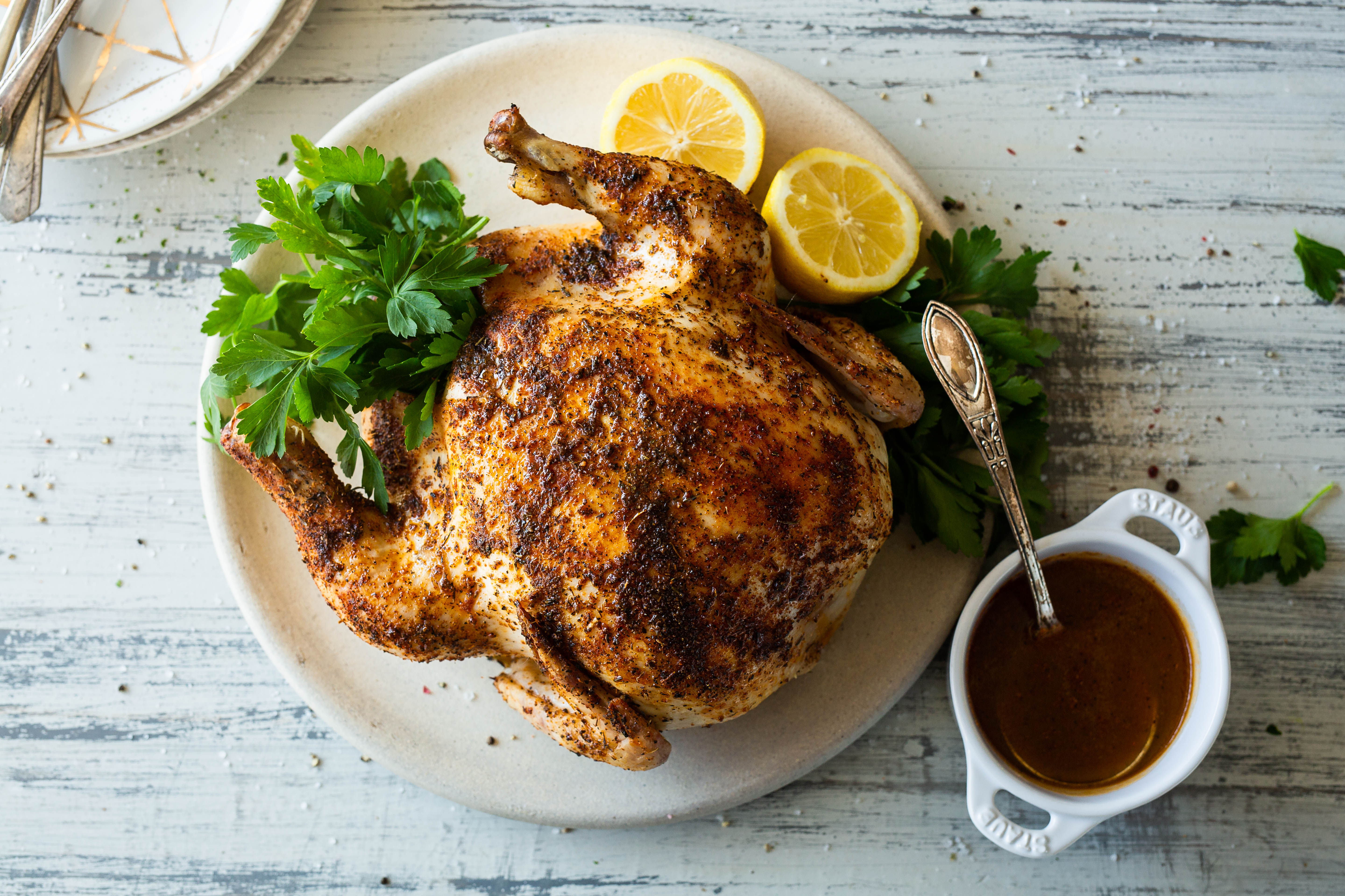 Roasted Chicken with Cajun Jus