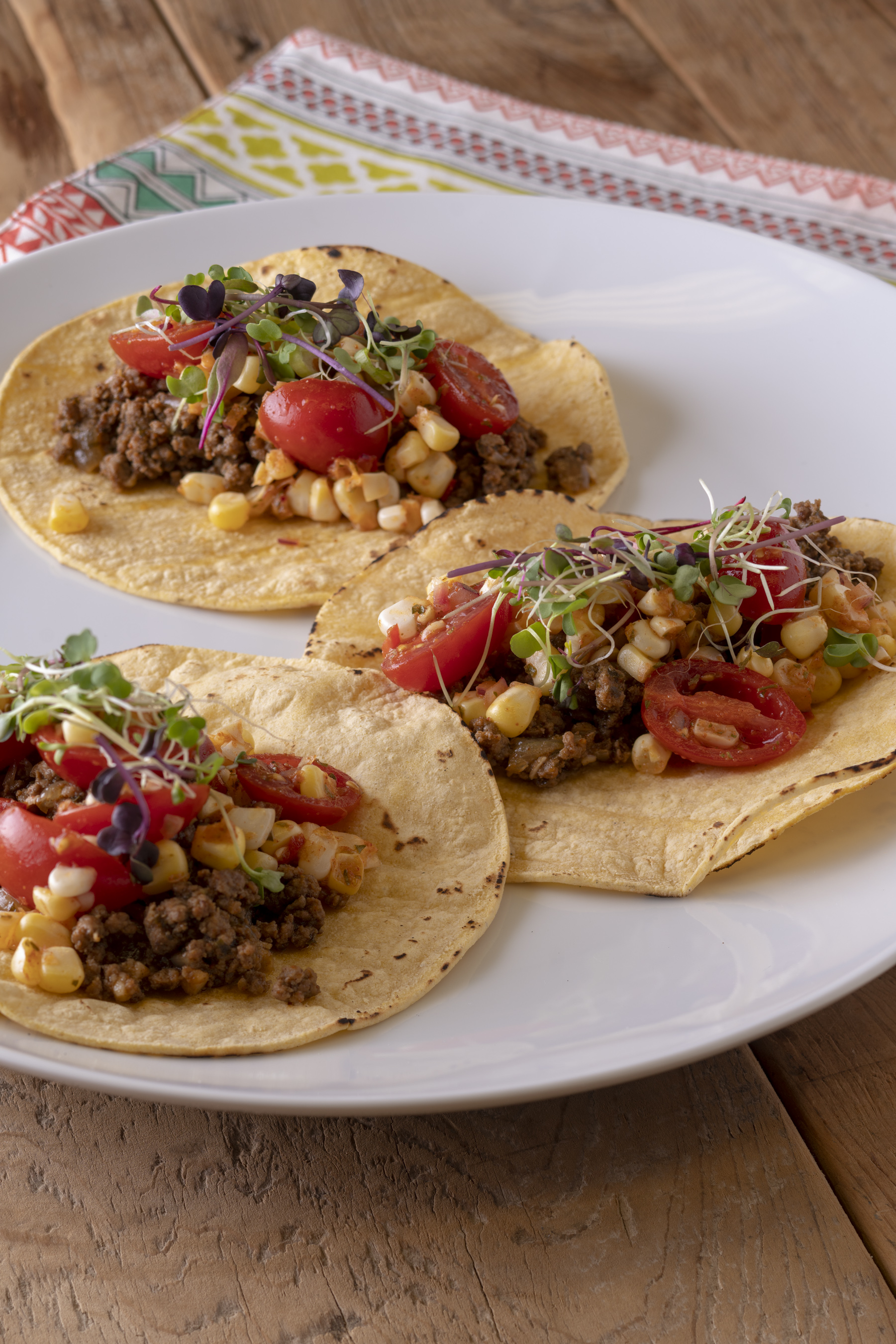 Beef Tacos with Roasted Corn & Tomato Salsa