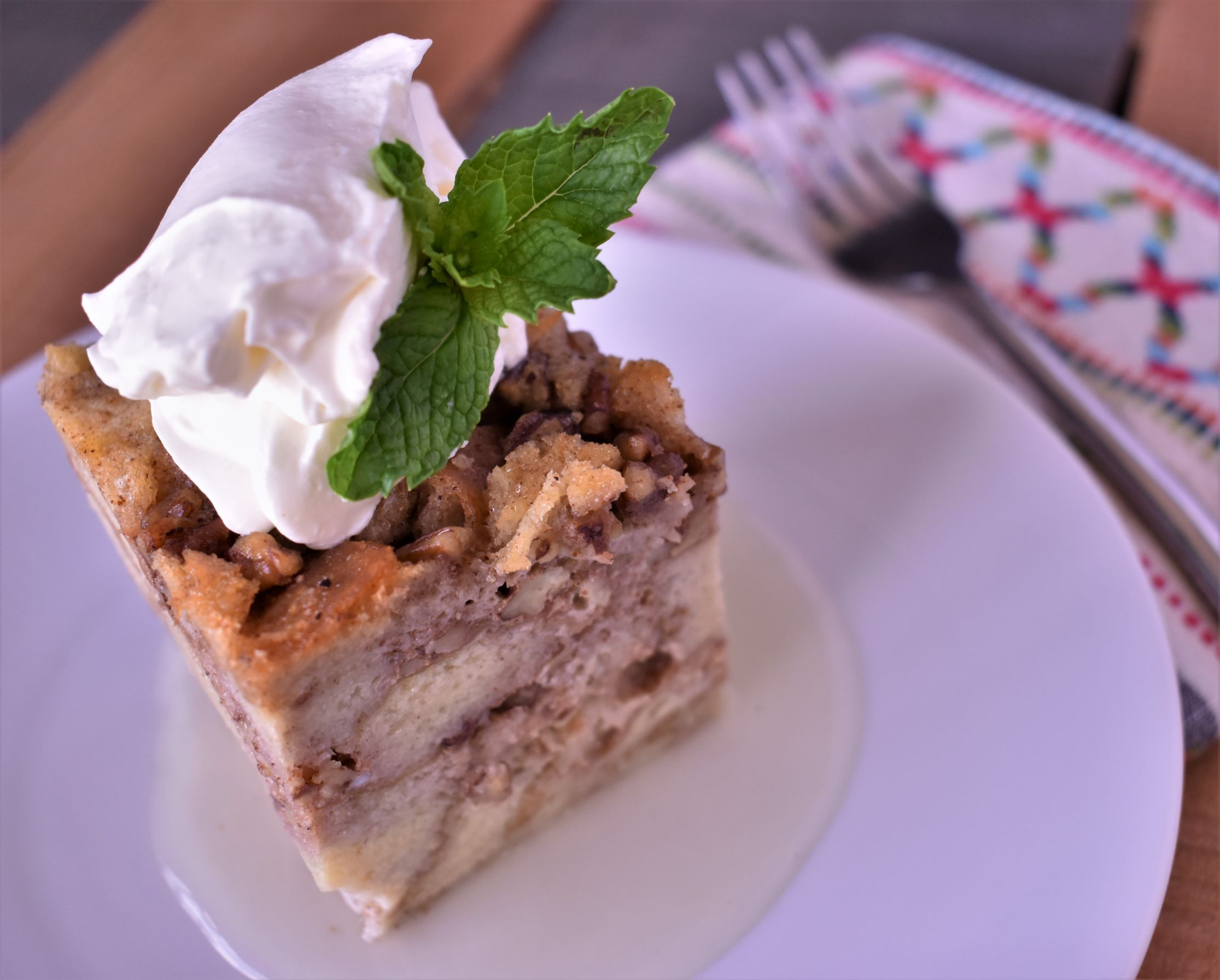 New Orleans Bread Pudding with Lemon Sauce and Chantilly Cream