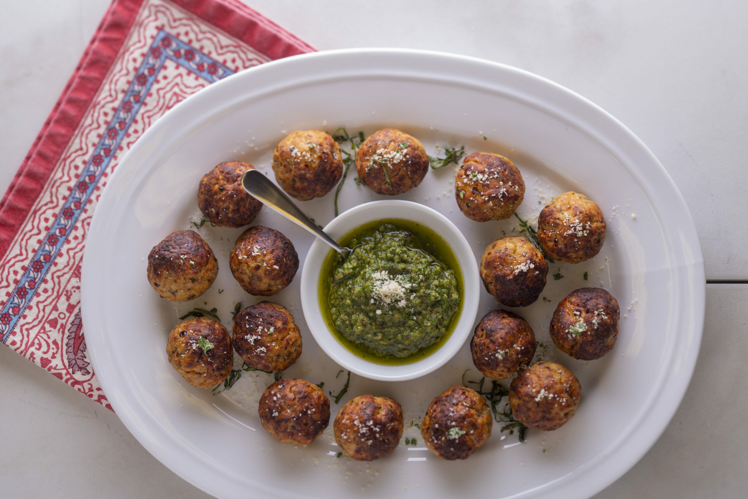 Chicken Meatballs with Pesto Sauce
